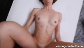 Amateur brunette cutie has a hard sex session with a long dildo pushing it really deep