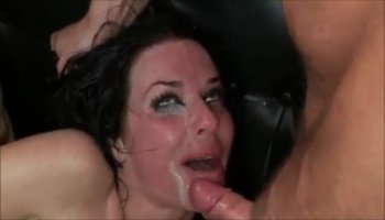 Slutty Asian chick titty fucks that leads to a dog